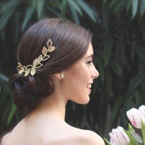 Tocado de novia Adriana con baño de oro